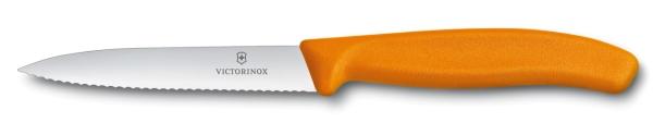 Victorinox SwissClassic Gemüsemesser 10 cm Wellenschliff Orange